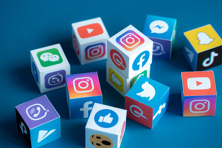 Social Media Apps Logotypes Printed on a Cubes
